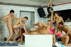 Bisex group orgy fucking with handjobs