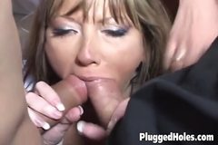 Cute girl fucking three white cocks