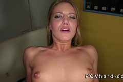 Blonde with small tits and great ass banging POV