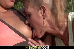 Old mom seduces and fucks her GF