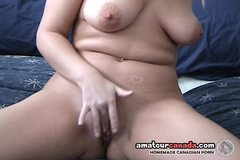 Freckled big boob wife gets fingers wet in pussy