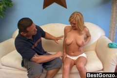 Victoria's Natural Breasts Bouncing During Hard Fuck