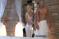 Massage Rooms Young blonde masseuse has squirting orgasm ove