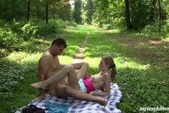 Busty teen Angel gets nailed outdoors