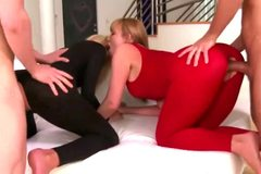 Femdom in tights fucked from behind