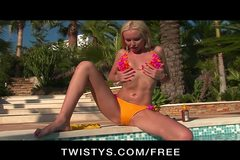 Twistys - Slutty blonde bikini babe masturbates to orgasm