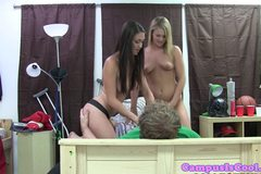 Two teen coed amateurs fucking dude