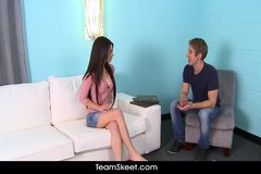 Petite teen Lacie Channing wet pussy banged