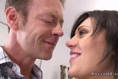 Hot brunette Scarlet A gets anal fucked from behind on couch
