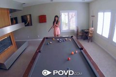 d POVD French babe with big tits fucked on pool table
