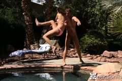 Girl with natural tits rides pool boy's cock