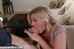 Busty MILF Julia Ann is sucking my tied up boyfriend!