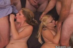 Glasses Blonde Catches The Jizz Squirts