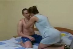 Skinny Brunette Russian Mature vs Boy pt2