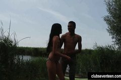 Superb babe gets fucked outdoors