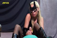 batgirl in boots gives a handjob
