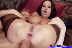 Busty housewife sluts loving threesome