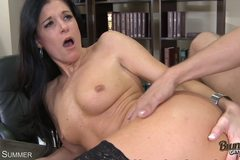 Horny Mature Brunette Gets Her Wet Pussy Slammed In Stockings!