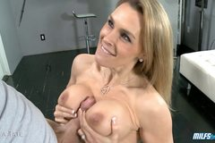 Blonde Milf Gets Her Tits Sprayed With Cum