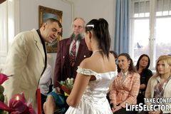 Unfaithful bride gets punished and kinky actions