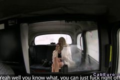 Huge tits blonde flashin and fucking in fake taxi