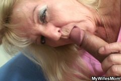 Old bag in white lingeie rides her son-in-law cock