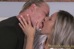 Intimate couple share passionate oral and sensual love making