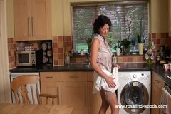 Mature English Dorothy in hairy stockings strip
