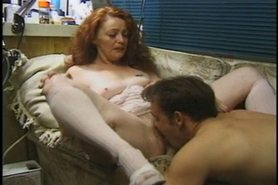 Mature redhead Madison getting her furry pussy worked over