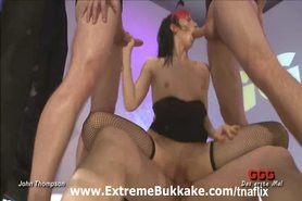 Hot and horny model joins bukkake orgy