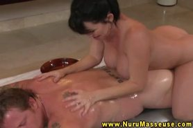 Busty asian massage beautie sensually rubbing dow