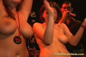 Sweet party chicks flashing their big tits getting wet