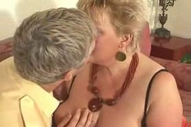 Big blonde grannie fucked by young man