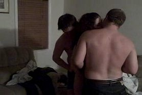 Threesome with a thin hottie and 2 guys