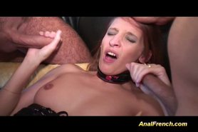French babe takes two big cocks anal and oral style