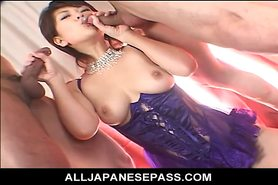 Cock happy Japanese sweetheart eating cum