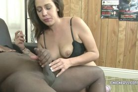 Brunette coed Bridgette Michels is sucking some dick