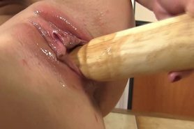 Blond babes gapping pussy takes the bat in her pussy