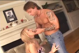 Deep throated anal blonde girl chokes on dick, gives rimjob, and gets fucked
