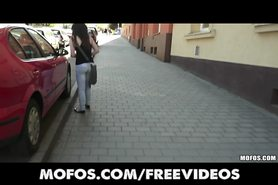 Public Pickups - Sexy young Czech redhead is paid to strip