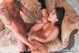Asian Asa Akira Strips and Fucks Her Client HOT!
