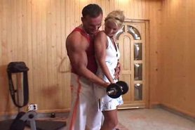Fucking a Blonde in Home Gym after Workout view on tnaflix.com tube online.