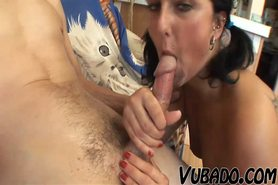 SEXY BRUNETTE FUCKS OLD MAN !!