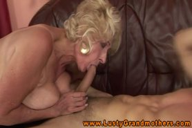 Mature blonde gilf bounces on hard cock