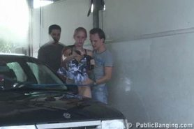 Public - public sex threesome at a car wash