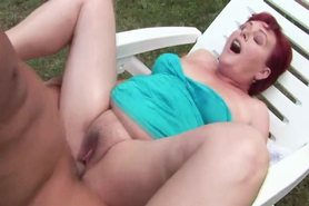Amateur mature granny fucked outdoors