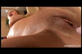 Enormous natural tits blonde fucks herself