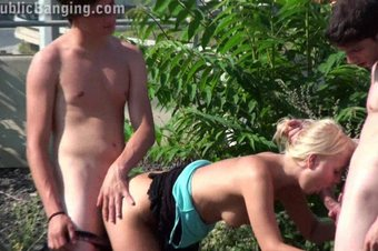 Blonde pretty TEEN PUBLIC sex orgy Part 2