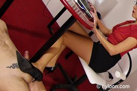 Nylon pantyhosed secretary gives shoejob and footjob view on tnaflix.com tube online.