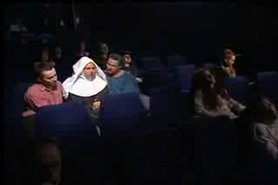 German Nun fucks with 2 Guys in the Cinema view on tnaflix.com tube online.